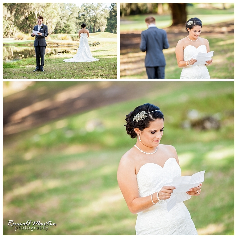 First Look, Haile Plantation Golf and Country Club, Gainesville Wedding Photographer