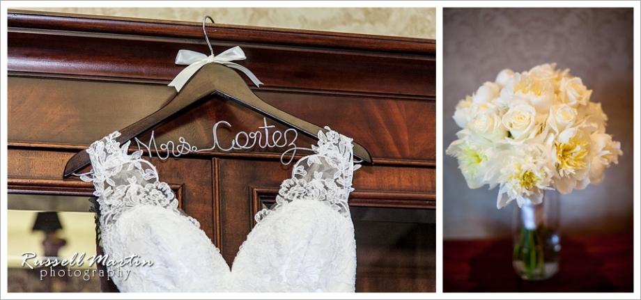 Golden Ocala Wedding, dress, flowers, hanger